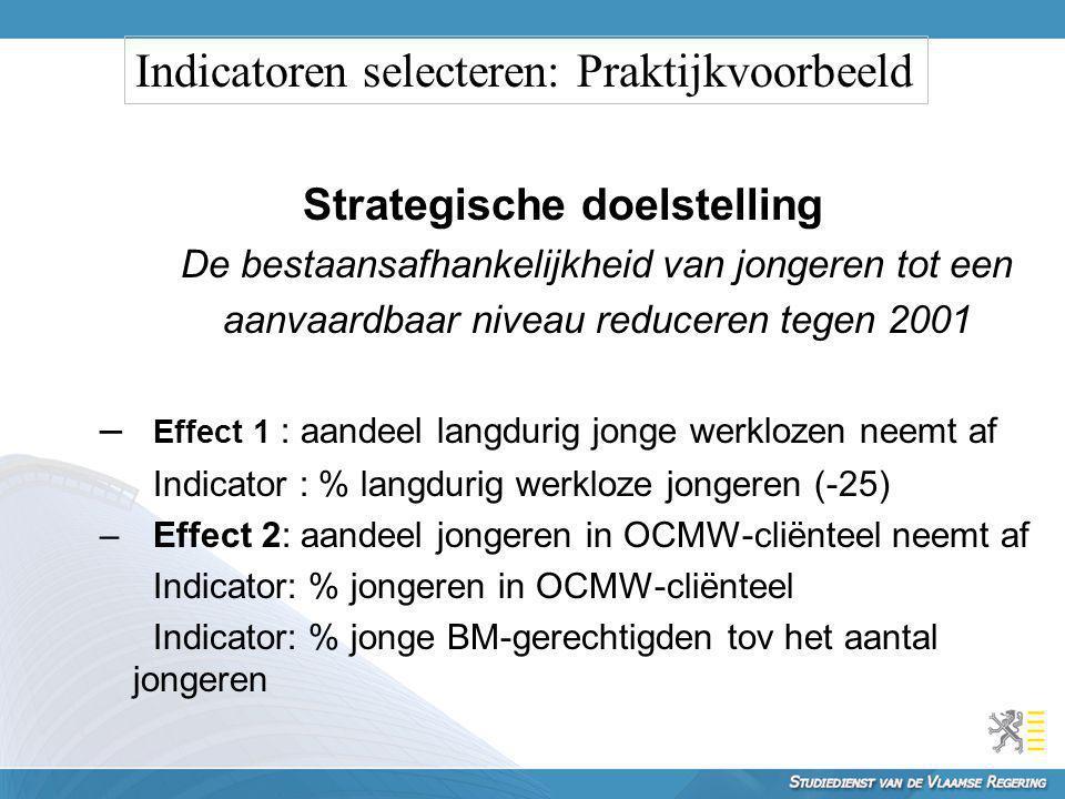 Strategische doelstelling De bestaansafhankelijkheid van jongeren tot een aanvaardbaar niveau reduceren tegen 2001 – Effect 1 : aandeel langdurig jong