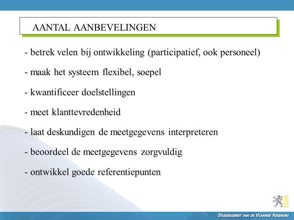 AANTAL AANBEVELINGEN - betrek velen bij ontwikkeling (participatief, ook personeel) - maak het systeem flexibel, soepel - kwantificeer doelstellingen
