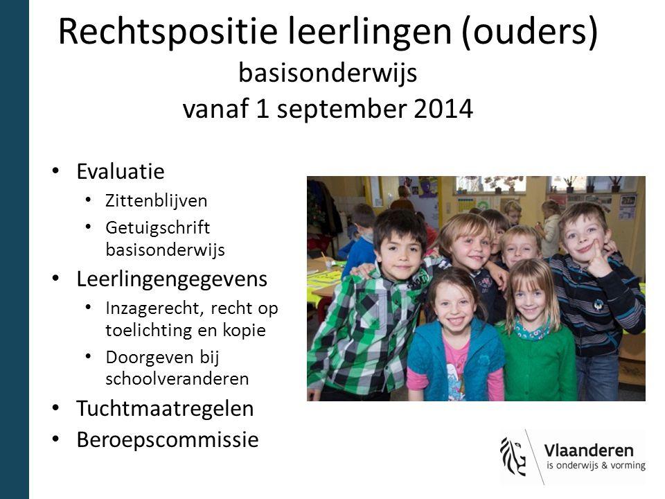 Rechtspositie leerlingen (ouders) basisonderwijs vanaf 1 september 2014 Evaluatie Zittenblijven Getuigschrift basisonderwijs Leerlingengegevens Inzage