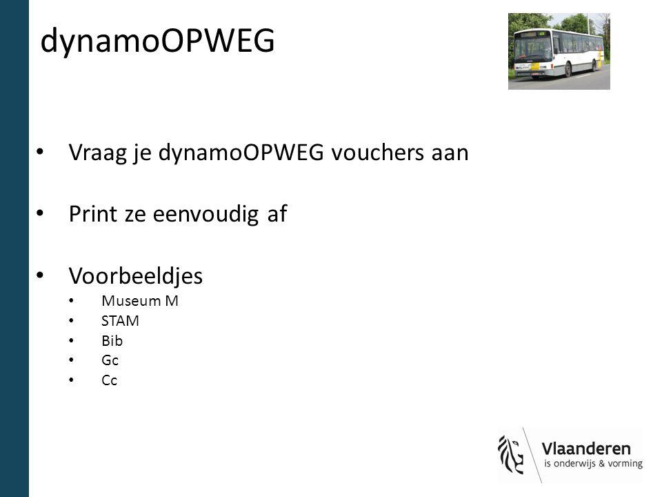 dynamoOPWEG Vraag je dynamoOPWEG vouchers aan Print ze eenvoudig af Voorbeeldjes Museum M STAM Bib Gc Cc