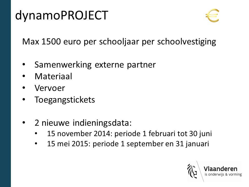 dynamoPROJECT Max 1500 euro per schooljaar per schoolvestiging Samenwerking externe partner Materiaal Vervoer Toegangstickets 2 nieuwe indieningsdata: