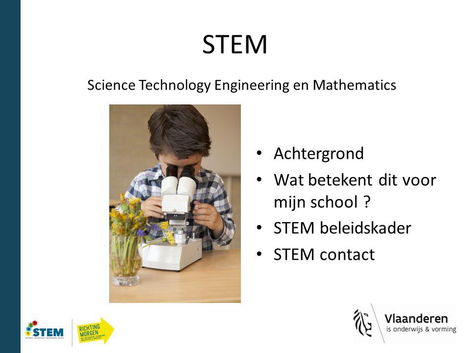 STEM Achtergrond Wat betekent dit voor mijn school ? STEM beleidskader STEM contact Science Technology Engineering en Mathematics
