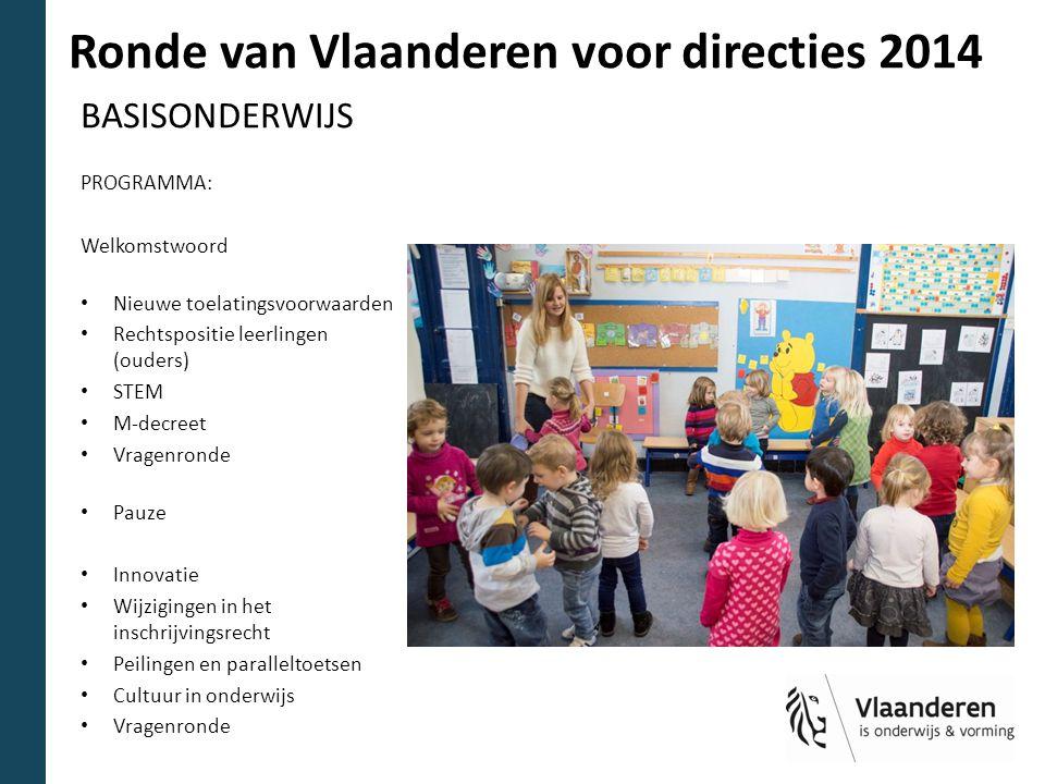 Ronde van Vlaanderen voor directies 2014 BASISONDERWIJS PROGRAMMA: Welkomstwoord Nieuwe toelatingsvoorwaarden Rechtspositie leerlingen (ouders) STEM M