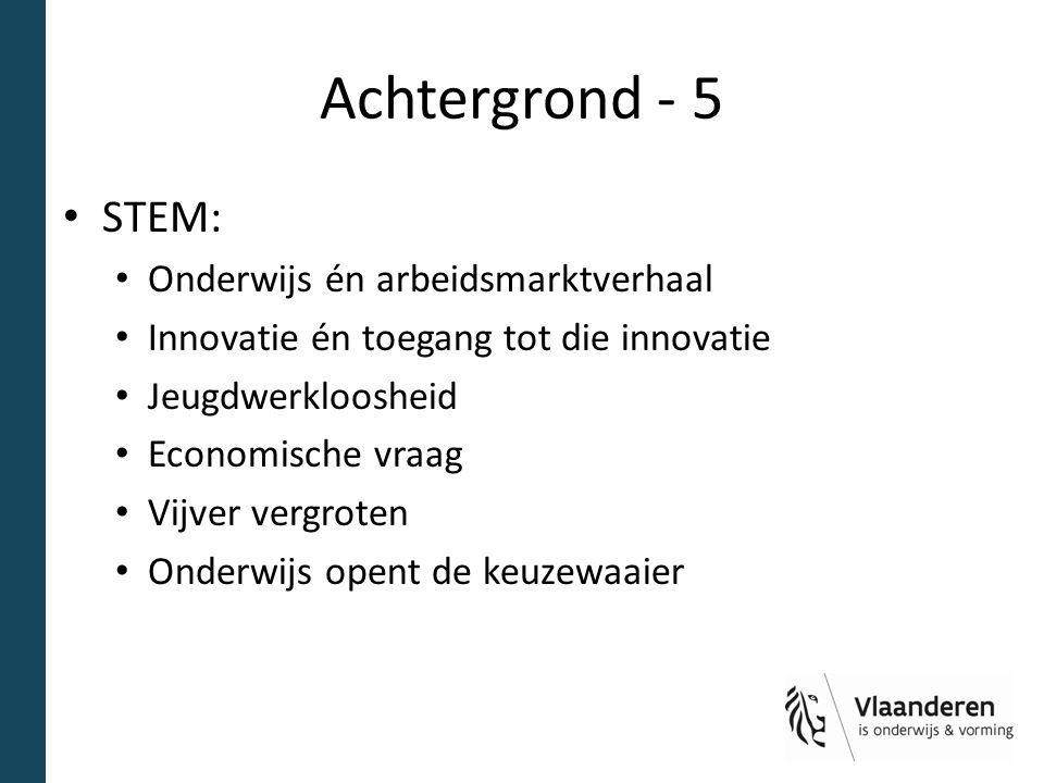 Achtergrond - 5 STEM: Onderwijs én arbeidsmarktverhaal Innovatie én toegang tot die innovatie Jeugdwerkloosheid Economische vraag Vijver vergroten Ond