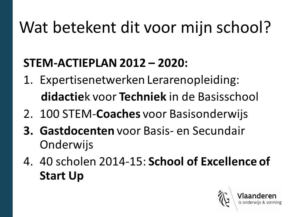 Wat betekent dit voor mijn school? STEM-ACTIEPLAN 2012 – 2020: 1.Expertisenetwerken Lerarenopleiding: didactiek voor Techniek in de Basisschool 2.100
