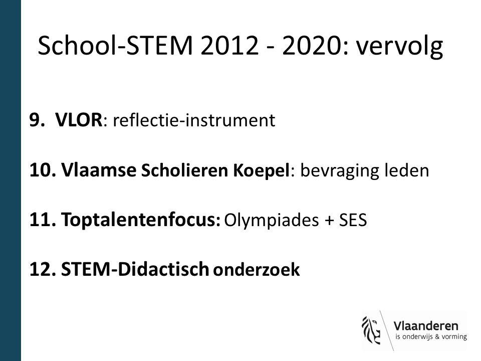 School-STEM 2012 - 2020: vervolg 9. VLOR : reflectie-instrument 10. Vlaamse Scholieren Koepel: bevraging leden 11. Toptalentenfocus : Olympiades + SES