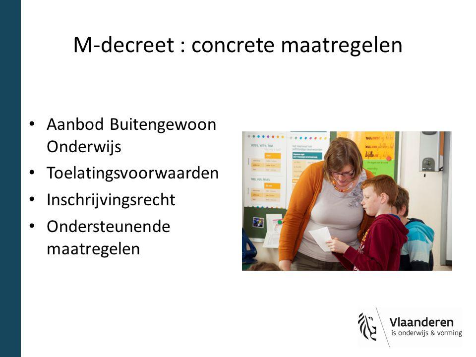 M-decreet : concrete maatregelen Aanbod Buitengewoon Onderwijs Toelatingsvoorwaarden Inschrijvingsrecht Ondersteunende maatregelen