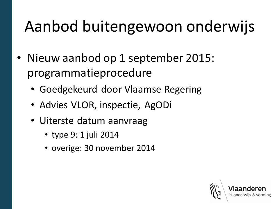 Aanbod buitengewoon onderwijs Nieuw aanbod op 1 september 2015: programmatieprocedure Goedgekeurd door Vlaamse Regering Advies VLOR, inspectie, AgODi