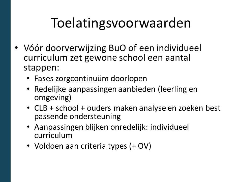 Toelatingsvoorwaarden Vóór doorverwijzing BuO of een individueel curriculum zet gewone school een aantal stappen: Fases zorgcontinuüm doorlopen Redeli