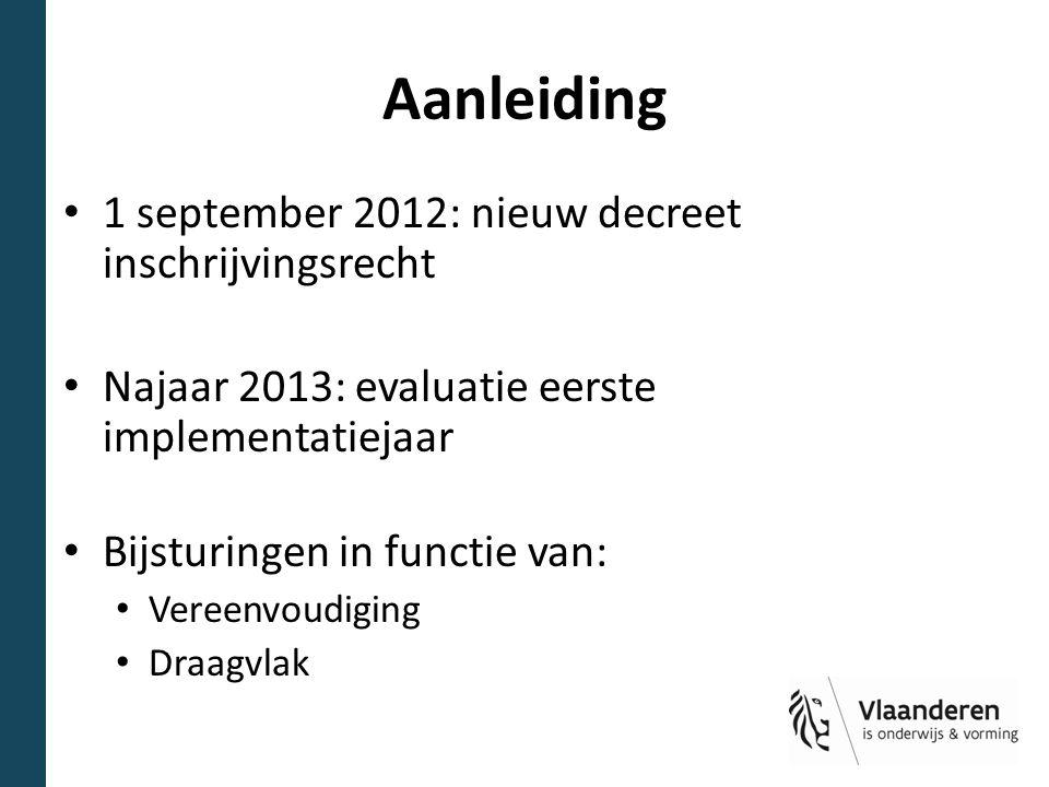 Aanleiding 1 september 2012: nieuw decreet inschrijvingsrecht Najaar 2013: evaluatie eerste implementatiejaar Bijsturingen in functie van: Vereenvoudi