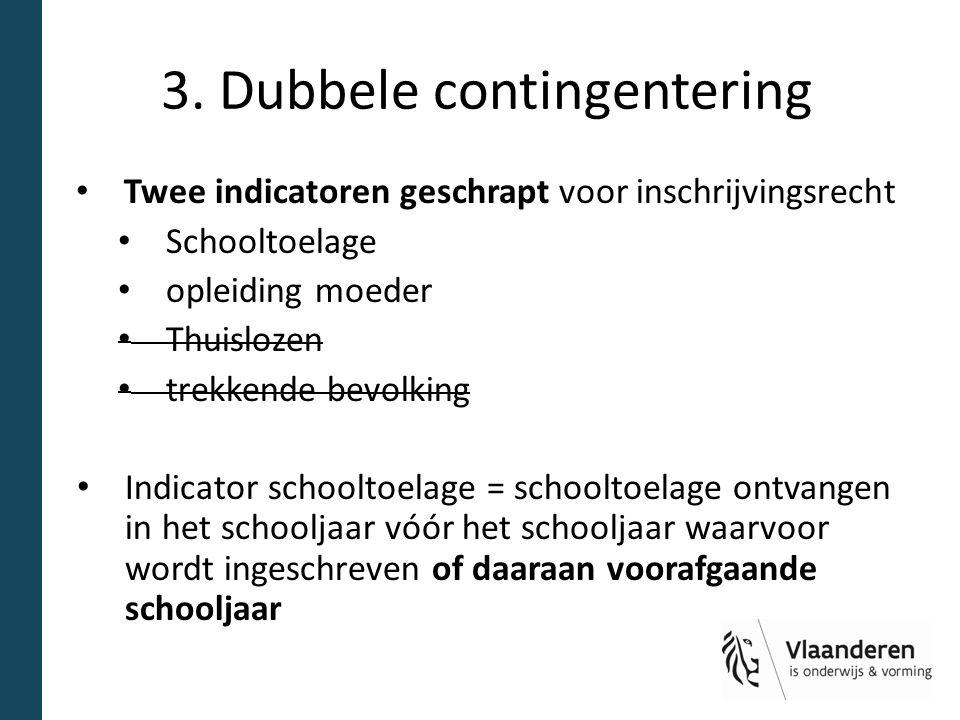 3. Dubbele contingentering Twee indicatoren geschrapt voor inschrijvingsrecht Schooltoelage opleiding moeder Thuislozen trekkende bevolking Indicator