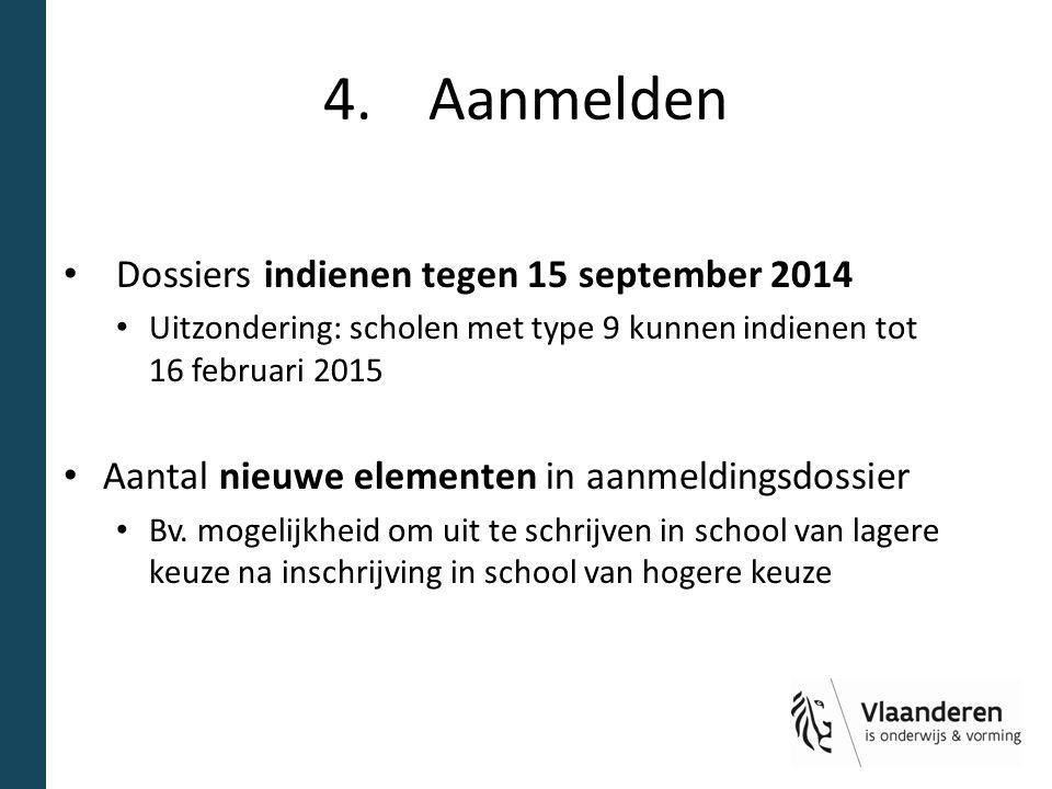 4.Aanmelden Dossiers indienen tegen 15 september 2014 Uitzondering: scholen met type 9 kunnen indienen tot 16 februari 2015 Aantal nieuwe elementen in