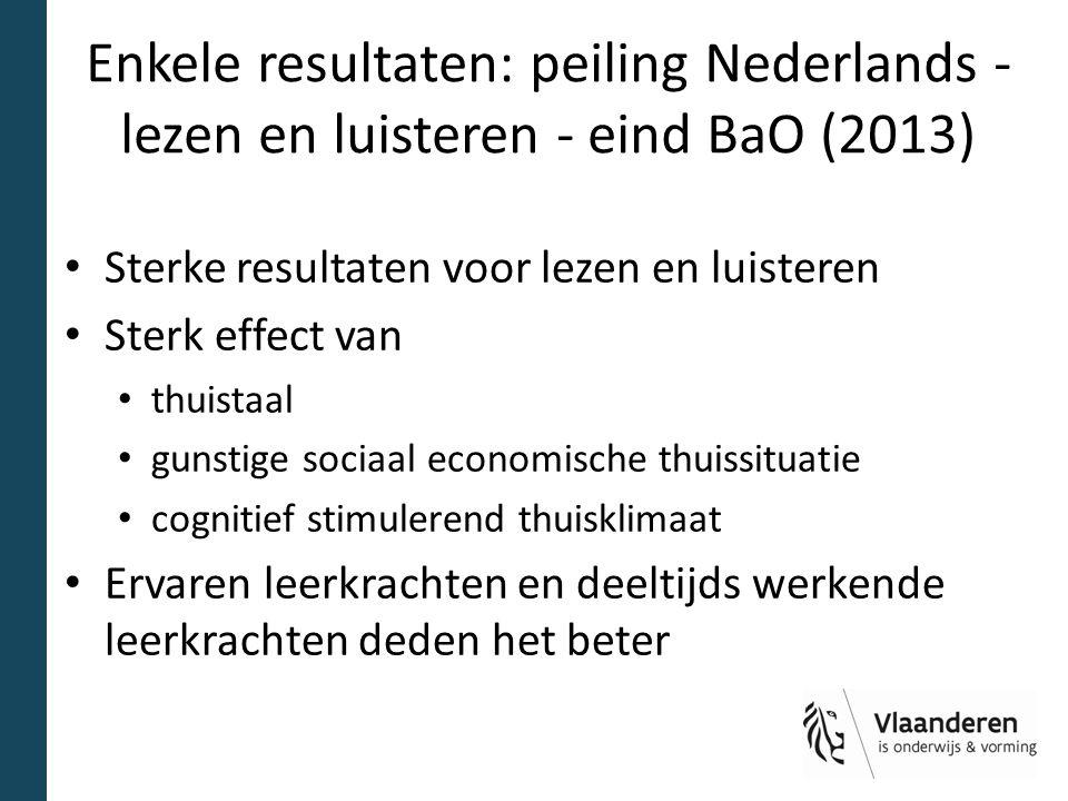Enkele resultaten: peiling Nederlands - lezen en luisteren - eind BaO (2013) Sterke resultaten voor lezen en luisteren Sterk effect van thuistaal guns