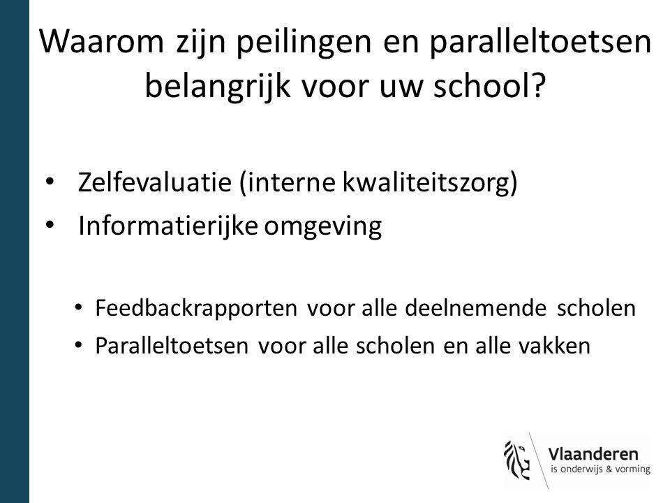 Waarom zijn peilingen en paralleltoetsen belangrijk voor uw school? Zelfevaluatie (interne kwaliteitszorg) Informatierijke omgeving Feedbackrapporten