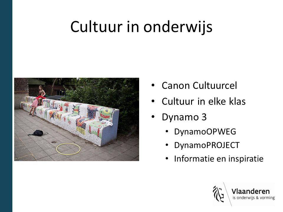 Cultuur in onderwijs Canon Cultuurcel Cultuur in elke klas Dynamo 3 DynamoOPWEG DynamoPROJECT Informatie en inspiratie