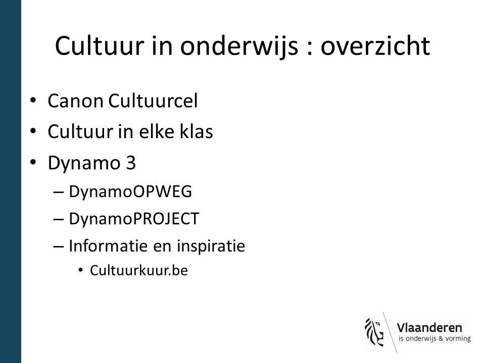 Cultuur in onderwijs : overzicht Canon Cultuurcel Cultuur in elke klas Dynamo 3 – DynamoOPWEG – DynamoPROJECT – Informatie en inspiratie Cultuurkuur.b