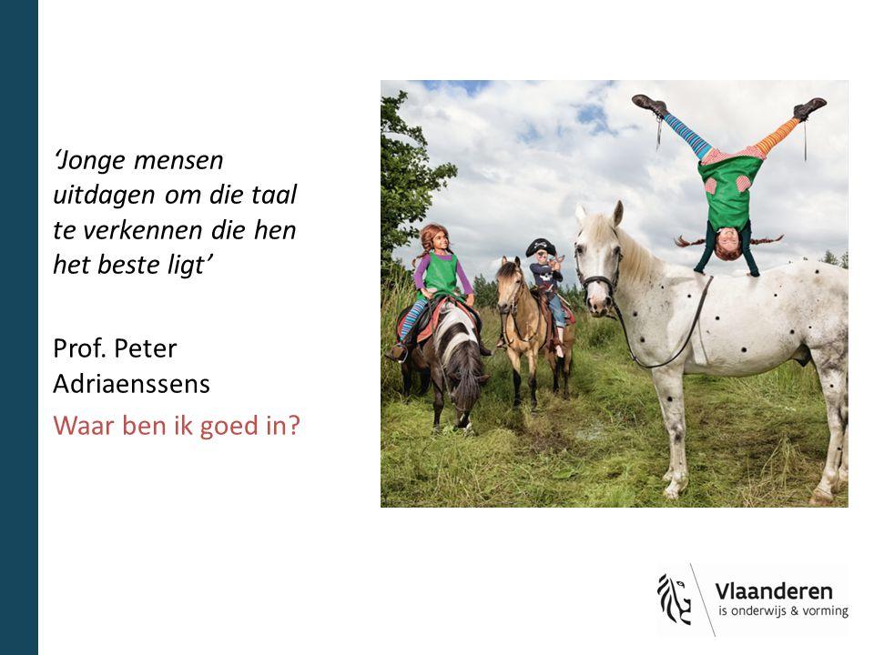 'Jonge mensen uitdagen om die taal te verkennen die hen het beste ligt' Prof. Peter Adriaenssens Waar ben ik goed in?