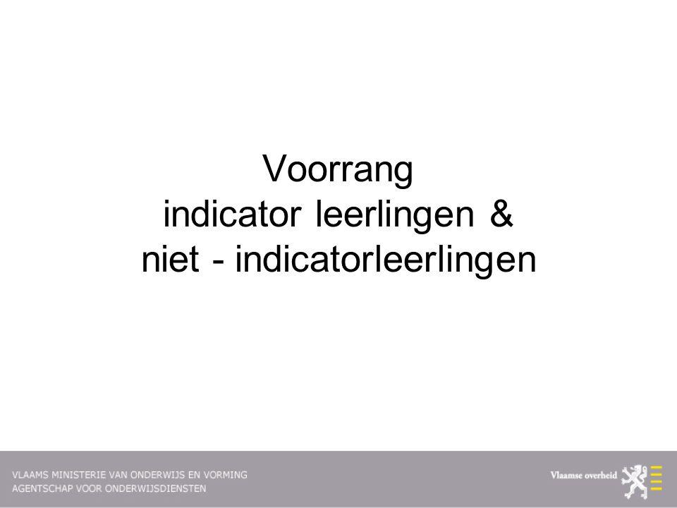 Voorrang indicator leerlingen & niet - indicatorleerlingen