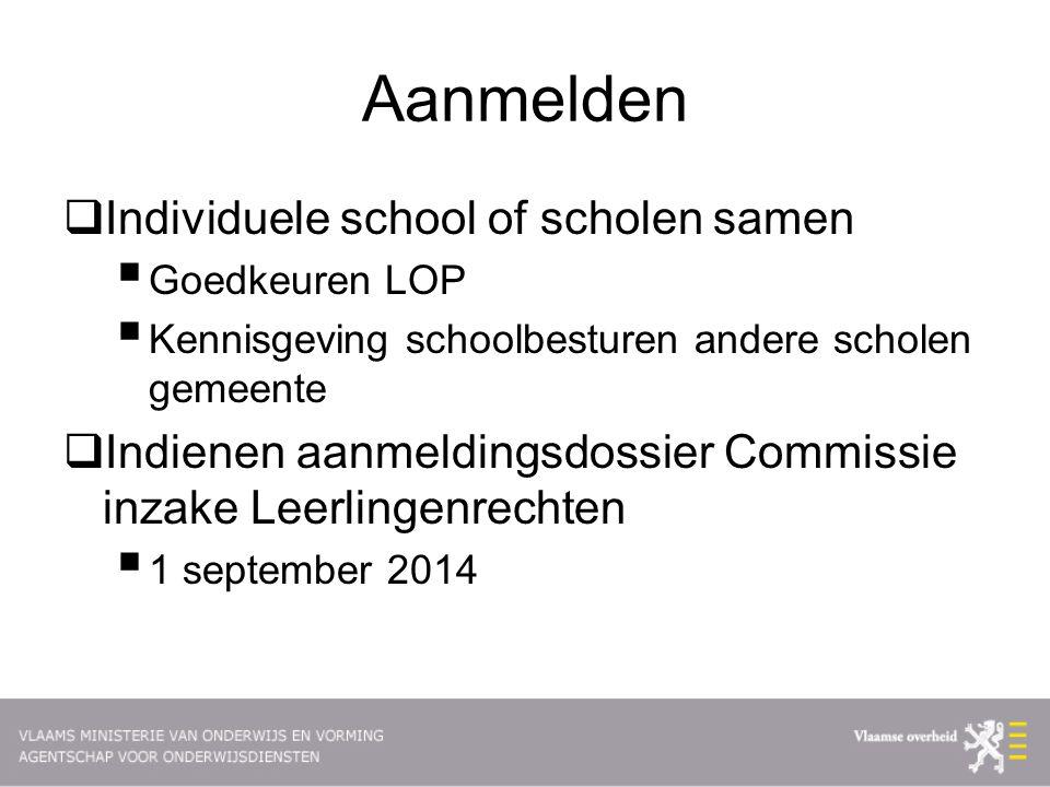 Aanmelden  Individuele school of scholen samen  Goedkeuren LOP  Kennisgeving schoolbesturen andere scholen gemeente  Indienen aanmeldingsdossier Commissie inzake Leerlingenrechten  1 september 2014