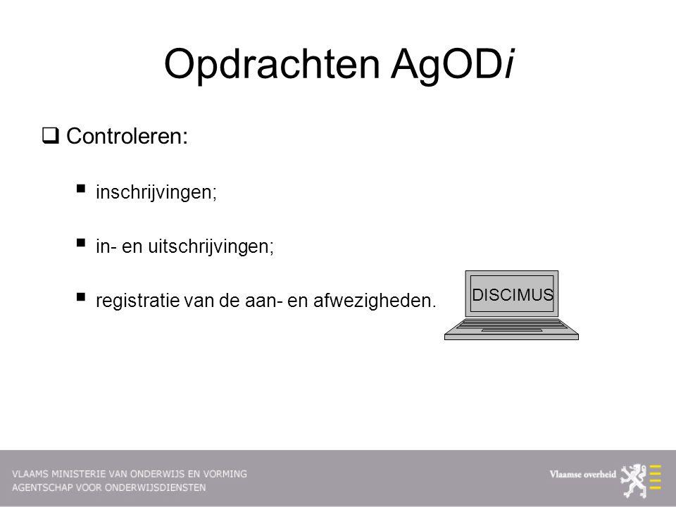 Opdrachten AgODi  Controleren:  inschrijvingen;  in- en uitschrijvingen;  registratie van de aan- en afwezigheden.