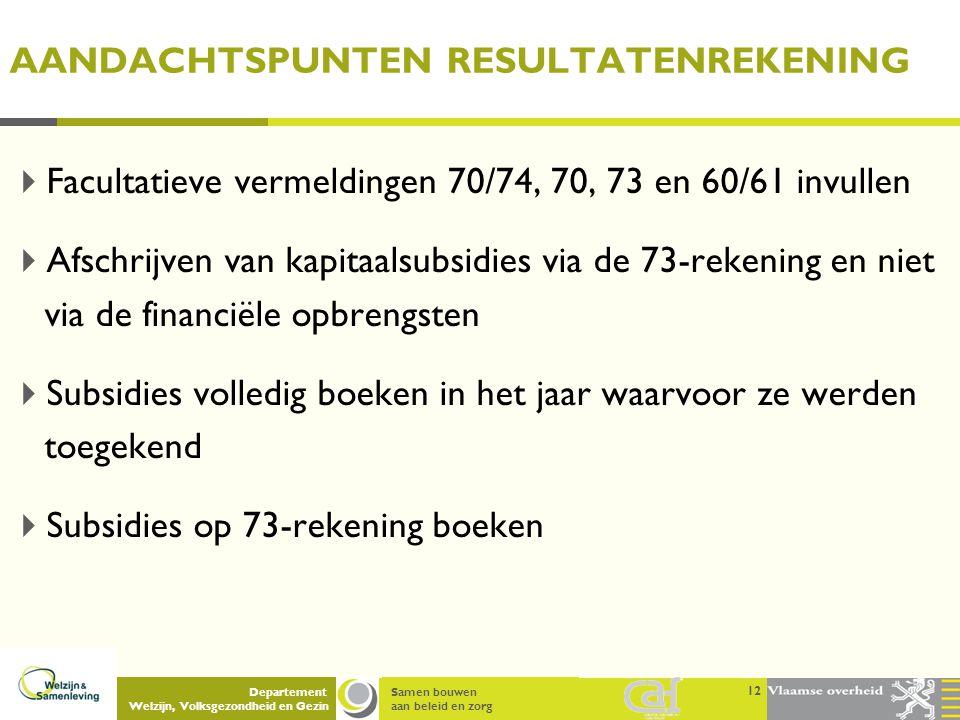 Samen bouwen aan beleid en zorg Departement Welzijn, Volksgezondheid en Gezin AANDACHTSPUNTEN RESULTATENREKENING  Facultatieve vermeldingen 70/74, 70