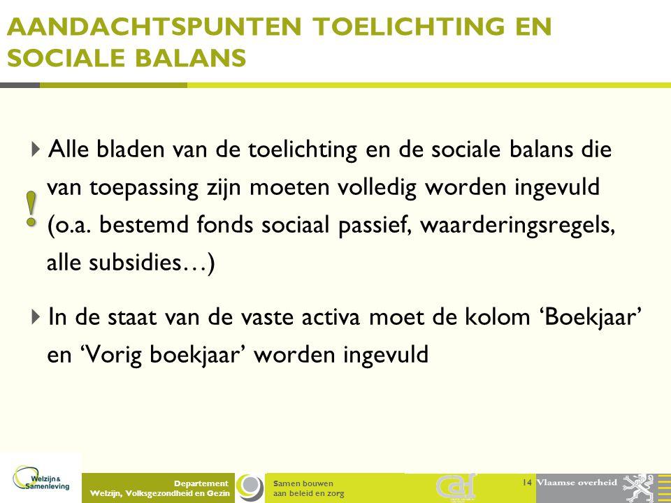 Samen bouwen aan beleid en zorg Departement Welzijn, Volksgezondheid en Gezin AANDACHTSPUNTEN TOELICHTING EN SOCIALE BALANS  Alle bladen van de toeli