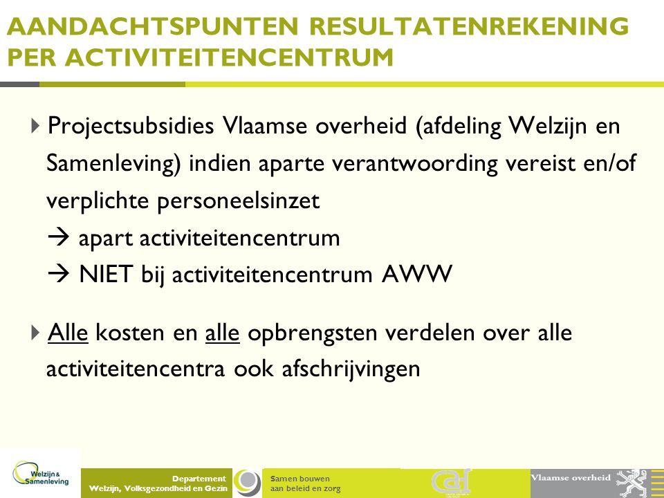 Samen bouwen aan beleid en zorg Departement Welzijn, Volksgezondheid en Gezin AANDACHTSPUNTEN RESULTATENREKENING PER ACTIVITEITENCENTRUM  Projectsubs