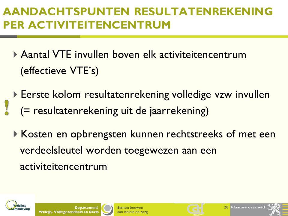 Samen bouwen aan beleid en zorg Departement Welzijn, Volksgezondheid en Gezin AANDACHTSPUNTEN RESULTATENREKENING PER ACTIVITEITENCENTRUM  Aantal VTE