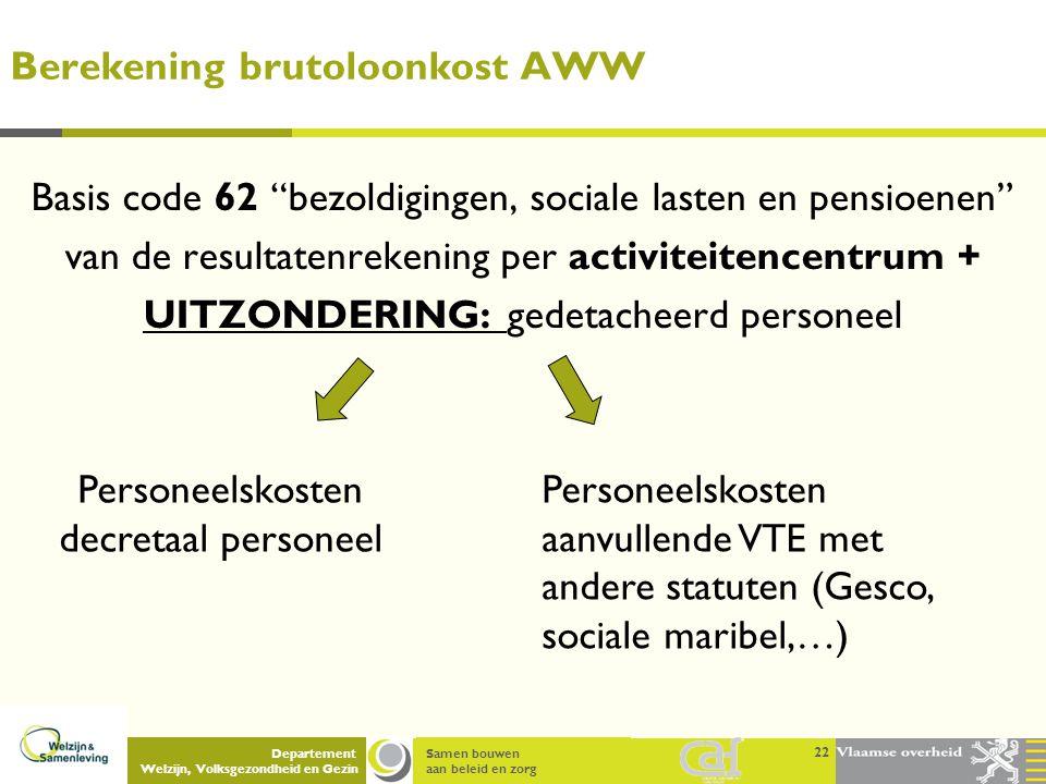 """Samen bouwen aan beleid en zorg Departement Welzijn, Volksgezondheid en Gezin Berekening brutoloonkost AWW 22 Basis code 62 """"bezoldigingen, sociale la"""