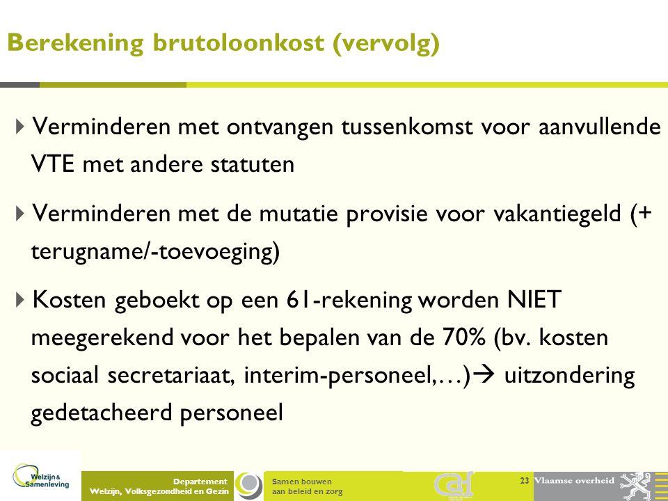 Samen bouwen aan beleid en zorg Departement Welzijn, Volksgezondheid en Gezin Berekening brutoloonkost (vervolg)  Verminderen met ontvangen tussenkom