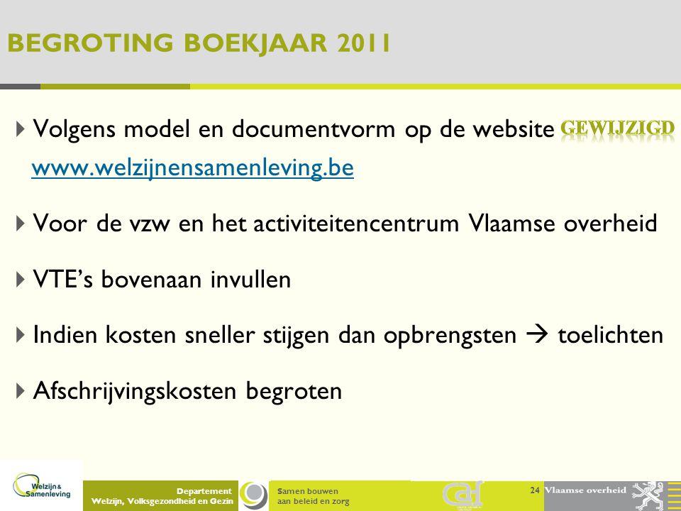 Samen bouwen aan beleid en zorg Departement Welzijn, Volksgezondheid en Gezin BEGROTING BOEKJAAR 2011  Volgens model en documentvorm op de website ww