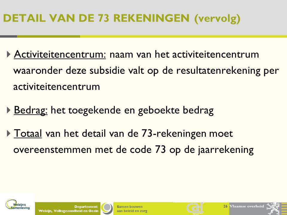 Samen bouwen aan beleid en zorg Departement Welzijn, Volksgezondheid en Gezin DETAIL VAN DE 73 REKENINGEN (vervolg)  Activiteitencentrum: naam van he