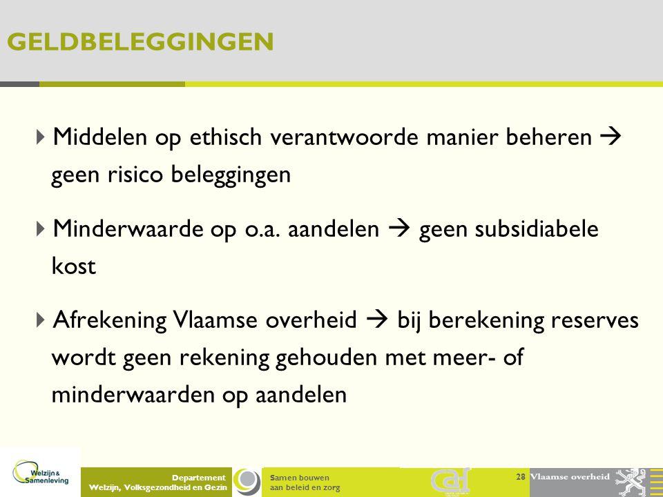 Samen bouwen aan beleid en zorg Departement Welzijn, Volksgezondheid en Gezin GELDBELEGGINGEN  Middelen op ethisch verantwoorde manier beheren  geen