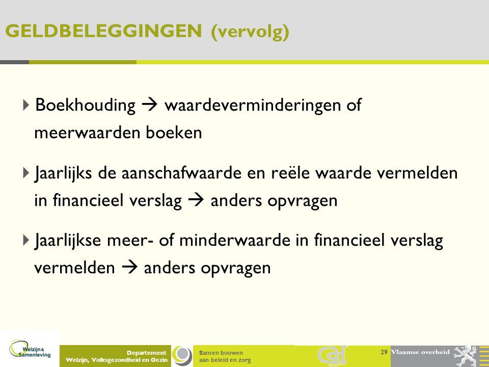 Samen bouwen aan beleid en zorg Departement Welzijn, Volksgezondheid en Gezin GELDBELEGGINGEN (vervolg)  Boekhouding  waardeverminderingen of meerwa