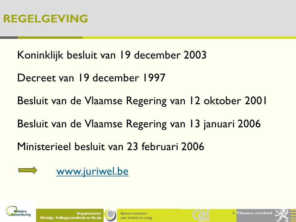 Samen bouwen aan beleid en zorg Departement Welzijn, Volksgezondheid en Gezin REGELGEVING Koninklijk besluit van 19 december 2003 Decreet van 19 decem