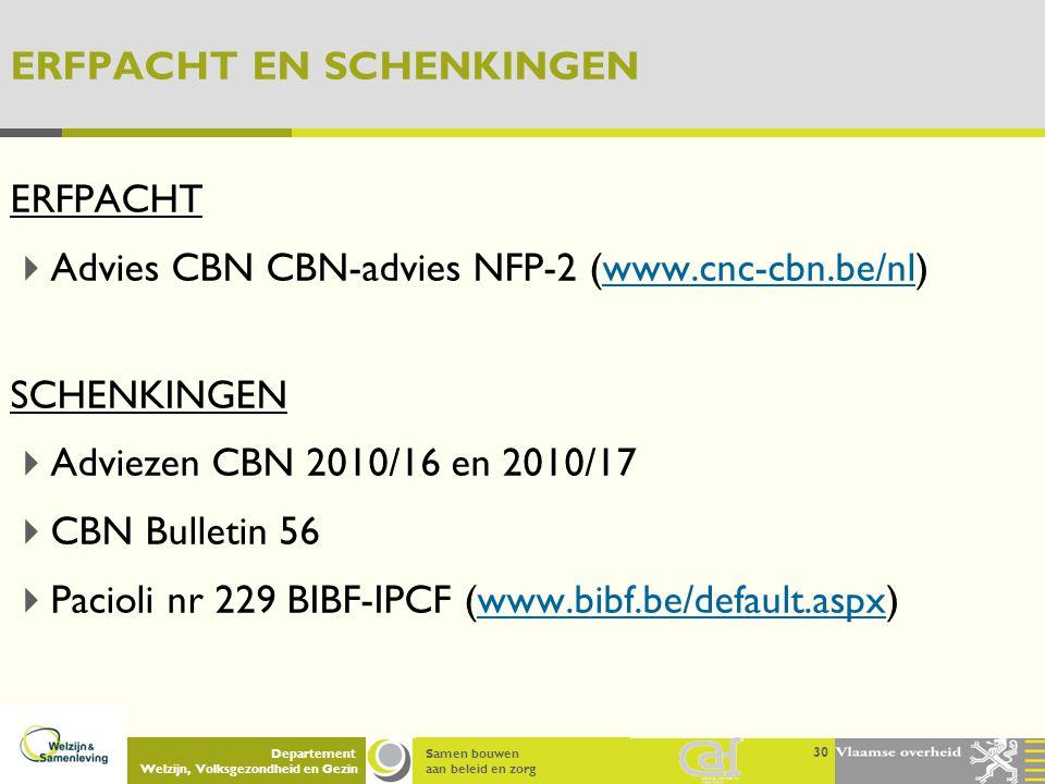 Samen bouwen aan beleid en zorg Departement Welzijn, Volksgezondheid en Gezin ERFPACHT EN SCHENKINGEN ERFPACHT  Advies CBN CBN-advies NFP-2 (www.cnc-