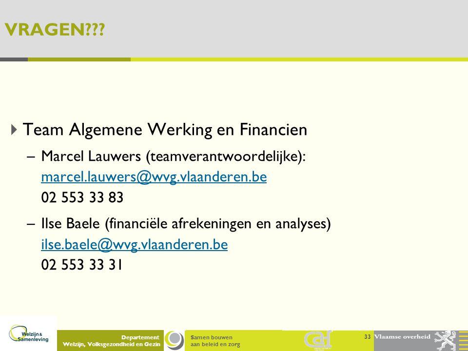 Samen bouwen aan beleid en zorg Departement Welzijn, Volksgezondheid en Gezin VRAGEN???  Team Algemene Werking en Financien –Marcel Lauwers (teamvera