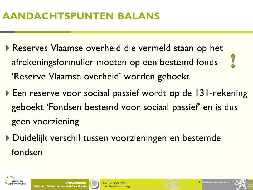 Samen bouwen aan beleid en zorg Departement Welzijn, Volksgezondheid en Gezin AANDACHTSPUNTEN BALANS  Reserves Vlaamse overheid die vermeld staan op