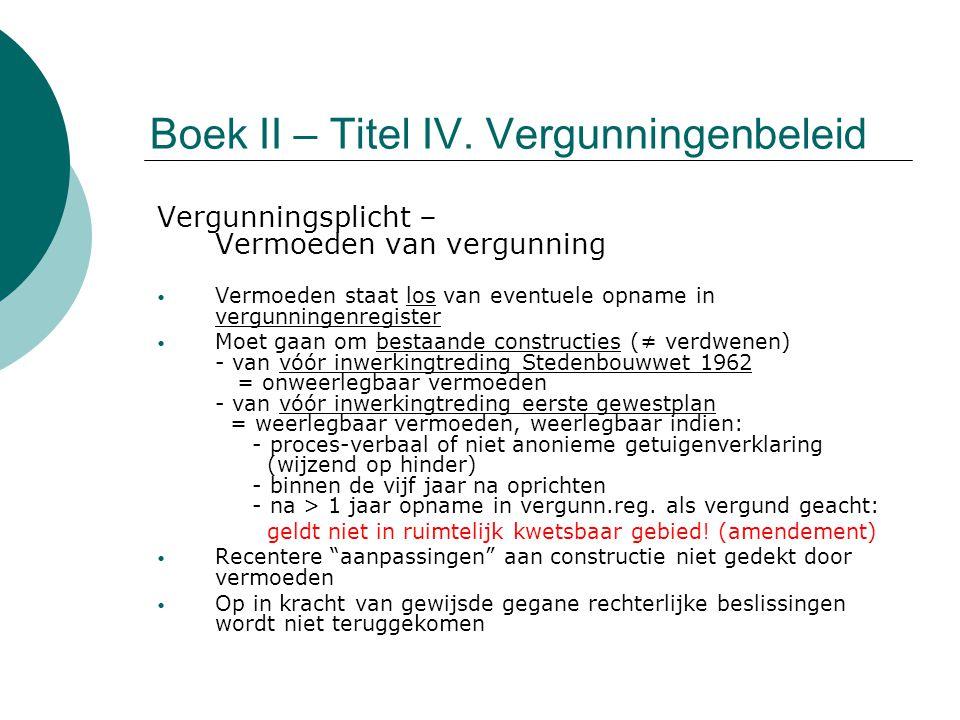 Boek II – Titel IV. Vergunningenbeleid Vergunningsplicht – Vermoeden van vergunning Vermoeden staat los van eventuele opname in vergunningenregister M