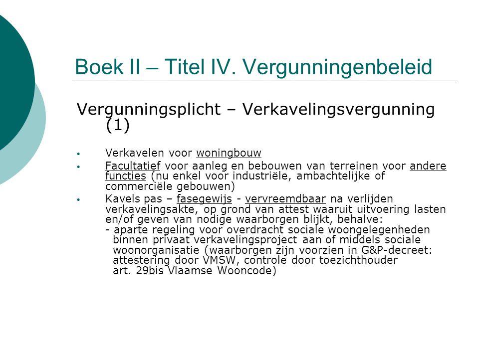 Boek II – Titel IV. Vergunningenbeleid Vergunningsplicht – Verkavelingsvergunning (1) Verkavelen voor woningbouw Facultatief voor aanleg en bebouwen v
