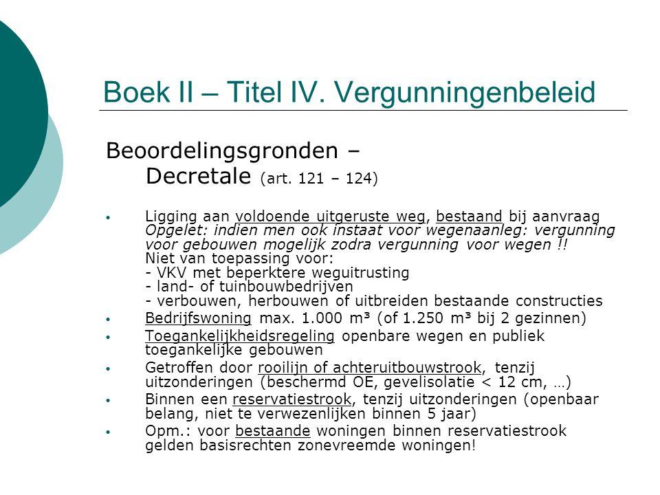 Boek II – Titel IV. Vergunningenbeleid Beoordelingsgronden – Decretale (art. 121 – 124) Ligging aan voldoende uitgeruste weg, bestaand bij aanvraag Op