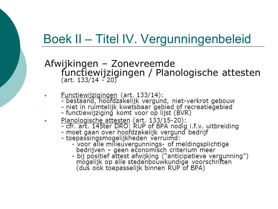 Boek II – Titel IV. Vergunningenbeleid Afwijkingen – Zonevreemde functiewijzigingen / Planologische attesten (art. 133/14 - 20) Functiewijzigingen (ar
