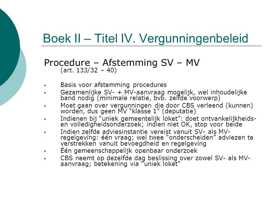 Boek II – Titel IV. Vergunningenbeleid Procedure – Afstemming SV – MV (art. 133/32 – 40) Basis voor afstemming procedures Gezamenlijke SV- + MV-aanvra