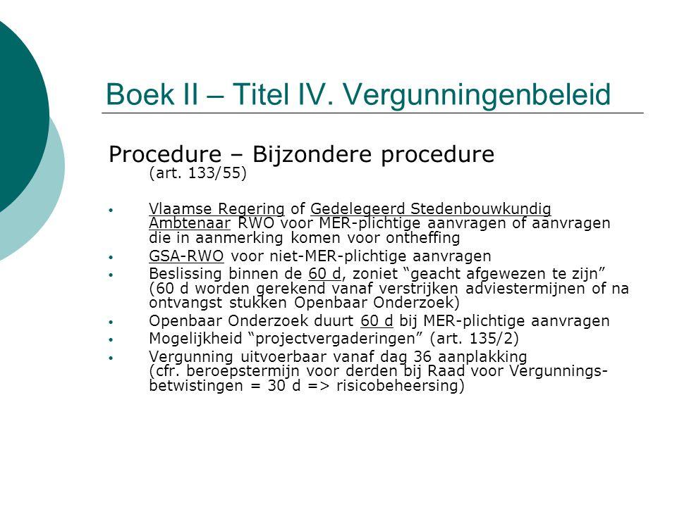 Boek II – Titel IV. Vergunningenbeleid Procedure – Bijzondere procedure (art. 133/55) Vlaamse Regering of Gedelegeerd Stedenbouwkundig Ambtenaar RWO v