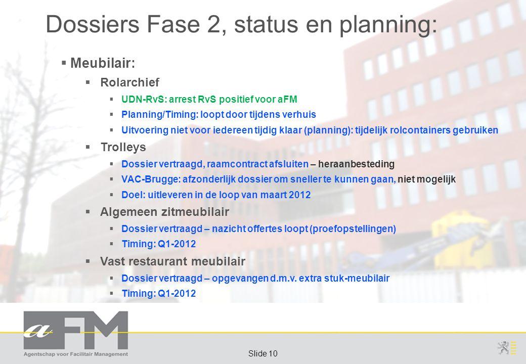 Page 10 Slide 10 Dossiers Fase 2, status en planning:  Meubilair:  Rolarchief  UDN-RvS: arrest RvS positief voor aFM  Planning/Timing: loopt door