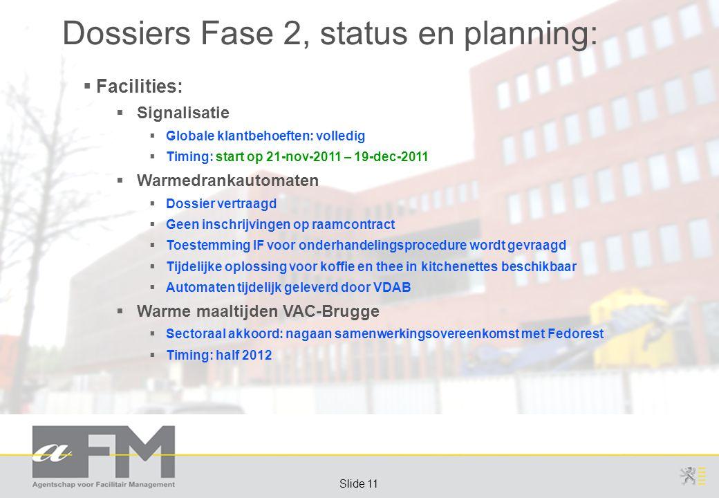 Page 11 Slide 11 Dossiers Fase 2, status en planning:  Facilities:  Signalisatie  Globale klantbehoeften: volledig  Timing: start op 21-nov-2011 –