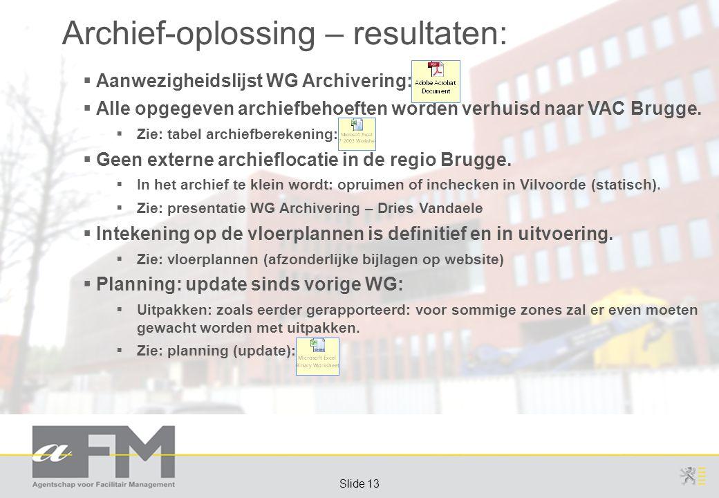 Page 13 Slide 13 Archief-oplossing – resultaten:  Aanwezigheidslijst WG Archivering:  Alle opgegeven archiefbehoeften worden verhuisd naar VAC Brugg