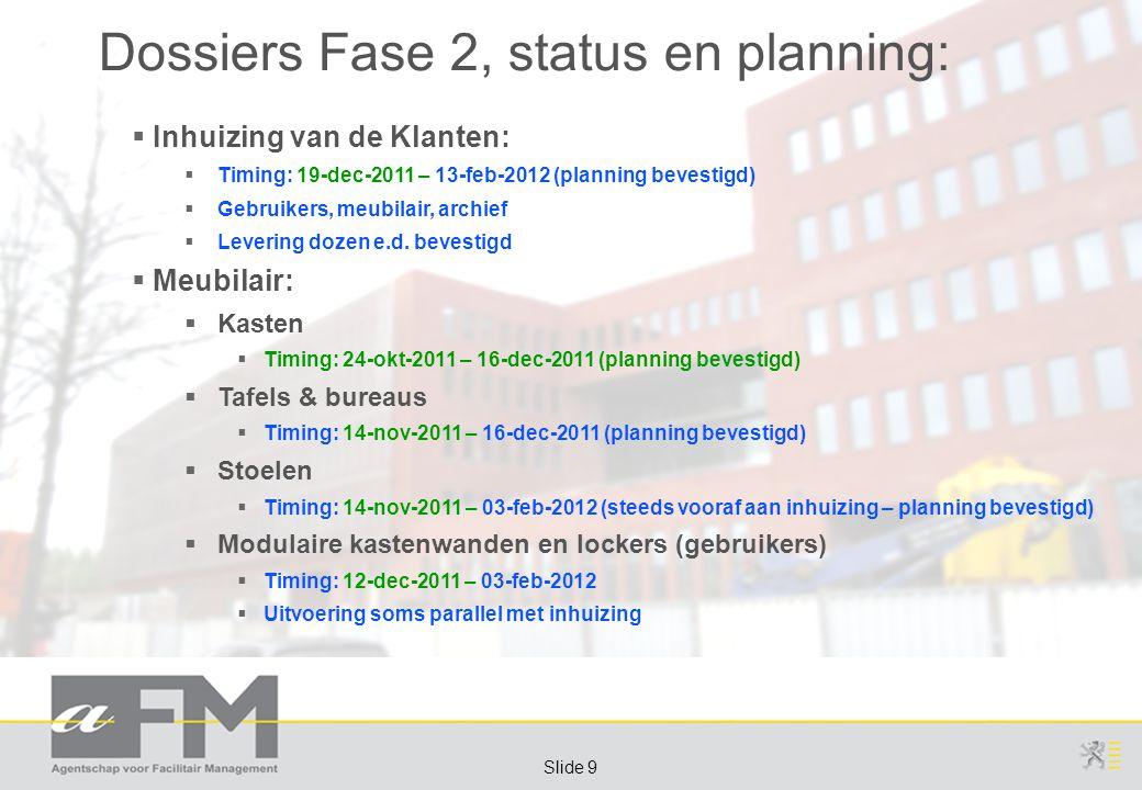 Page 10 Slide 10 Dossiers Fase 2, status en planning:  Meubilair:  Rolarchief  UDN-RvS: arrest RvS positief voor aFM  Planning/Timing: loopt door tijdens verhuis  Uitvoering niet voor iedereen tijdig klaar (planning): tijdelijk rolcontainers gebruiken  Trolleys  Dossier vertraagd, raamcontract afsluiten – heraanbesteding  VAC-Brugge: afzonderlijk dossier om sneller te kunnen gaan, niet mogelijk  Doel: uitleveren in de loop van maart 2012  Algemeen zitmeubilair  Dossier vertraagd – nazicht offertes loopt (proefopstellingen)  Timing: Q1-2012  Vast restaurant meubilair  Dossier vertraagd – opgevangen d.m.v.