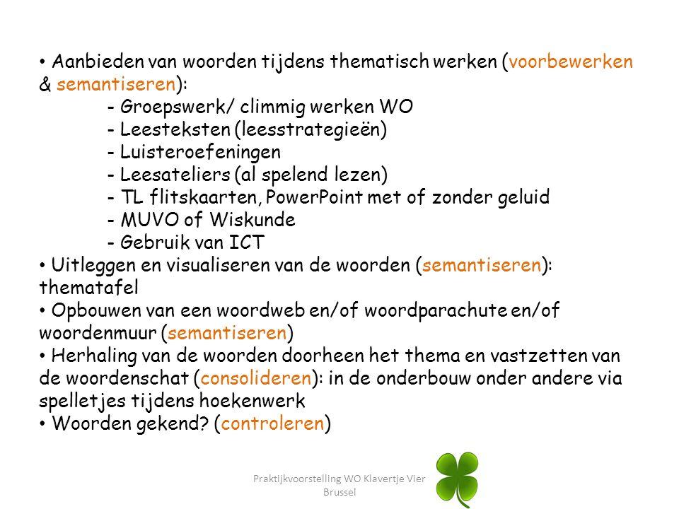 Praktijkvoorstelling WO Klavertje Vier Brussel Aanbieden van woorden tijdens thematisch werken (voorbewerken & semantiseren): - Groepswerk/ climmig we
