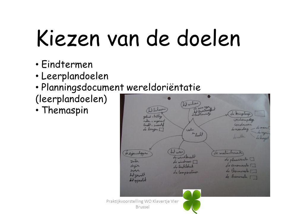 Praktijkvoorstelling WO Klavertje Vier Brussel Kiezen van de doelen Eindtermen Leerplandoelen Planningsdocument wereldoriëntatie (leerplandoelen) Them
